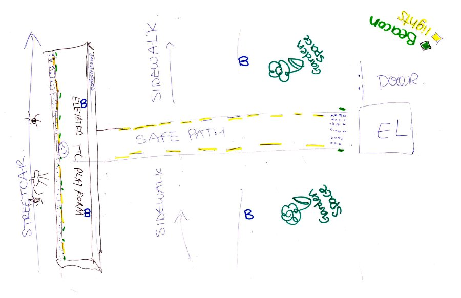 A preliminary sketch for the Seascape Safe Path from the streetcar platform to the elevator by group Group#2