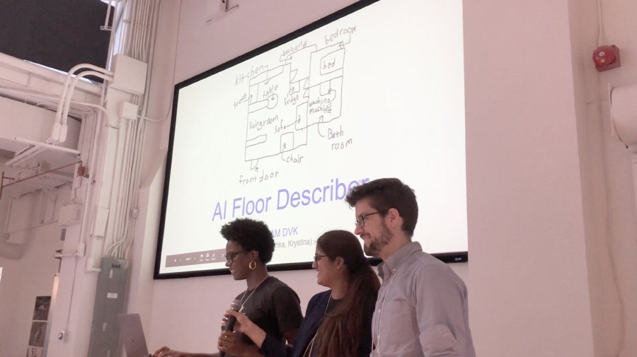 Three participants presenting their idea to the larger group